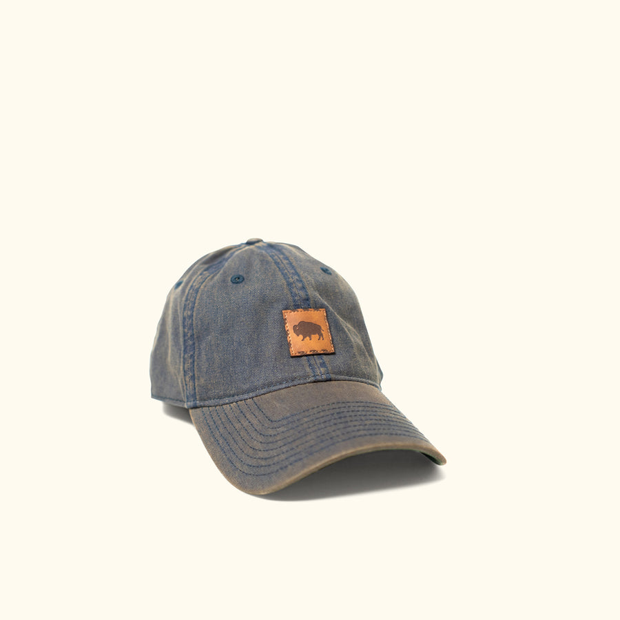 Buffalo Jackson Stamp Logo - Leather Patch Hat - Navy