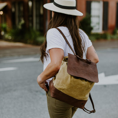 Madison Waxed Canvas Backpack | Khaki w/ Dark Hazelnut Leather hover