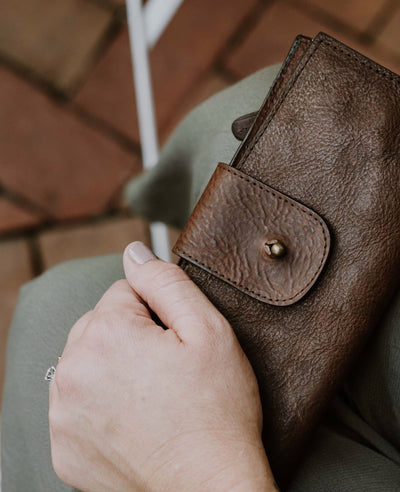 Madison Checkbook Wallet | Dark Hazelnut hover