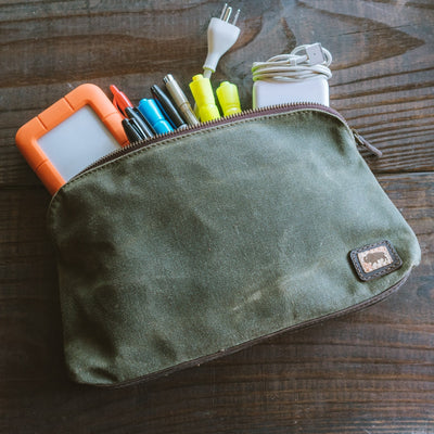 Elkton Waxed Canvas Utility Gear Pouch Combo - Small, Medium & Large | Green hover