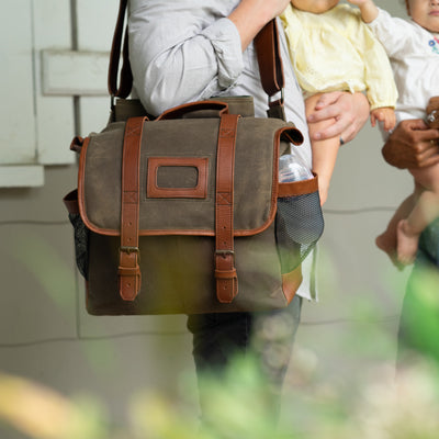 Elkton Waxed Canvas Diaper Bag | Moss w/ Autumn Brown Leather hover