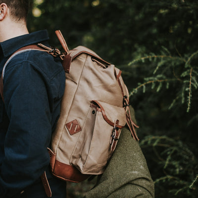Rugged Hiking Canvas Rucksack | Field Khaki w/ Chestnut Brown Leather