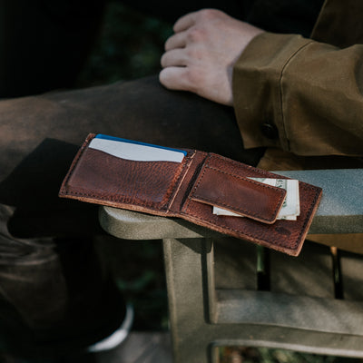 Dakota Leather Bifold - Metal Money Clip Wallet | Chestnut Brown hover