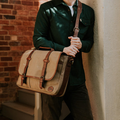 Mens Rugged canvas messenger bag hover