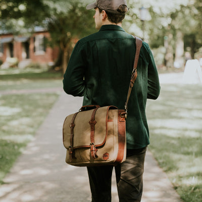 Waxed Canvas school messenger bag for men