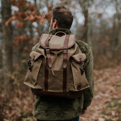 Mens Vintage Waxed Canvas Rucksack hover