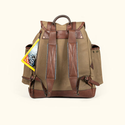 Men's Vintage waxed Canvas rucksack backpack