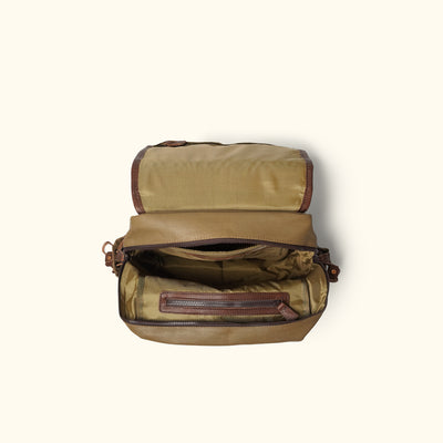 Dakota Waxed Canvas Commuter Backpack | Field Khaki w/ Chestnut Brown Leather