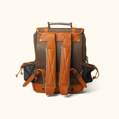 Waxed Canvas Commuter Backpack Brown Back
