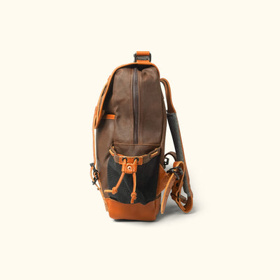 Vintage Waxed Canvas Hiking Backpack Brown Side