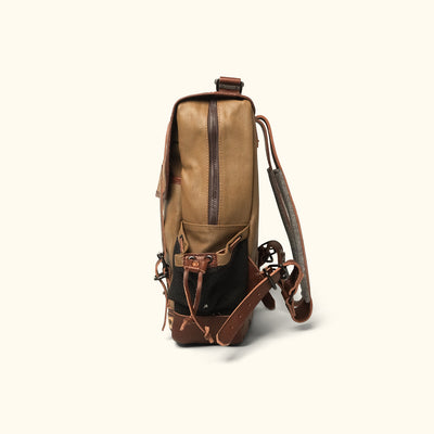 Men's Vintage Waxed Canvas Commuter Backpack Khaki side