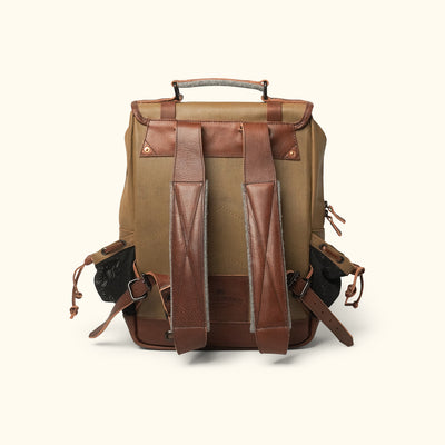 Vintage Canvas Commuter Backpack Khaki Back