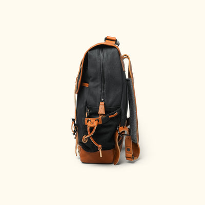 Rugged Waxed Canvas Commuter Backpack Navy Side