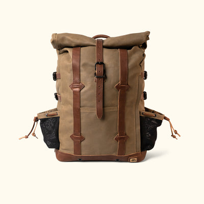 Men's Rugged Waxed Canvas Rolltop Backpack Khaki Front