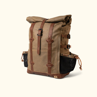 Rugged Waxed Canvas Rolltop Backpack Khaki Turned