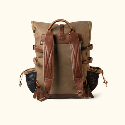 Classic Waxed Canvas Rolltop Backpack Khaki Back