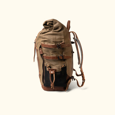 Vintage Waxed Canvas Rolltop Backpack Khaki Side