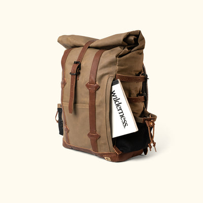 Men's Best Waxed Canvas Rolltop Backpack Khaki turned