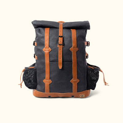 Men's Rugged Waxed Canvas Rolltop Backpack Navy Front