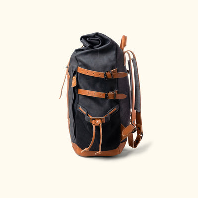 Classic Canvas Rolltop Backpack Navy Side