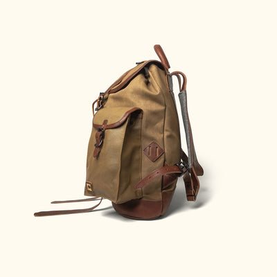 Men's Best Canvas Rucksack | Field Khaki w/ Chestnut Brown Leather