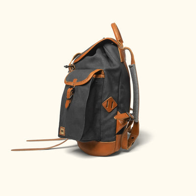 Dakota Waxed Canvas Rucksack | Navy Charcoal w/ Saddle Tan Leather