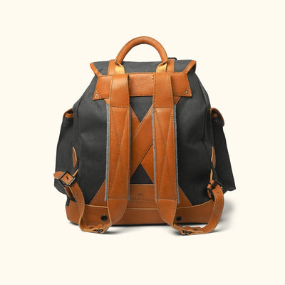 Men's Sturdy Canvas Rucksack | Navy Charcoal w/ Saddle Tan Leather