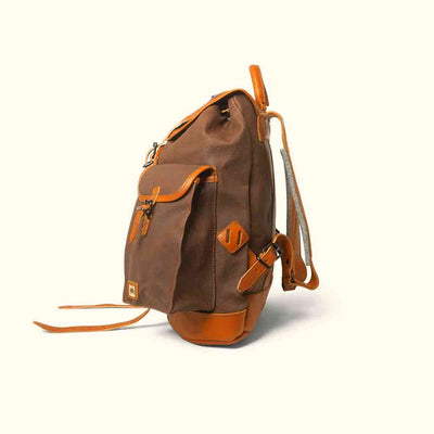 Heavy Duty Canvas Rucksack | Russet Brown w/ Saddle Tan Leather
