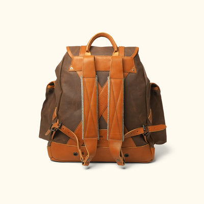 Modern Waxed Canvas Rucksack | Russet Brown w/ Saddle Tan Leather