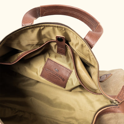 Men's Classic Waxed Canvas Duffle Bag/Backpack | Field Khaki w/ Chestnut Brown Leather