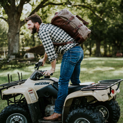 Outdoor Canvas Travel Duffle Bag/Backpack | Field Khaki w/ Chestnut Brown Leather hover