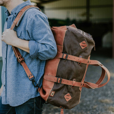 Men's Travel Canvas Duffle Bag Brown