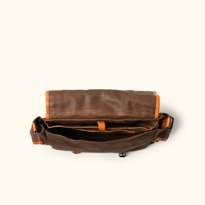 Men's Rugged Waxed Canvas Messenger Bag brown Interior