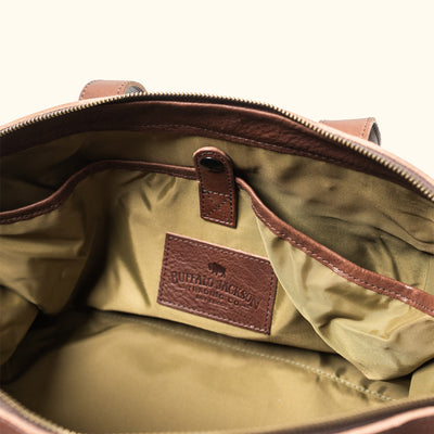 Vintage Waxed Canvas Weekend Bag Khaki Interior
