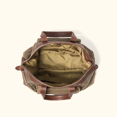 Men's Rugged Canvas Weekend Bag Khaki interior