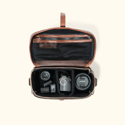 Dakota Leather Camera Bag | Dark Hazelnut w/ Chestnut Brown