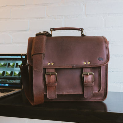 Rugged Leather Camera Bag | Dark Oak