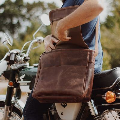 motorcycle Leather Satchel Messenger Bag | Dark Oak