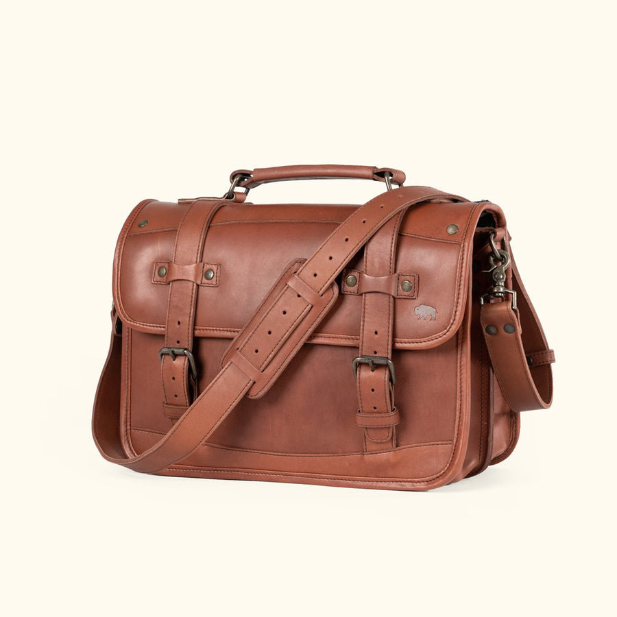 Denver Leather Belted Briefcase Autumn Brown