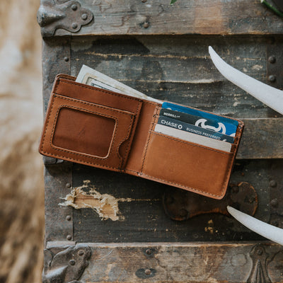 Men's Rugged Leather Bifold Wallet hover
