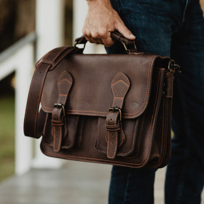 Urban Leather Briefcase Bag Dark Briar