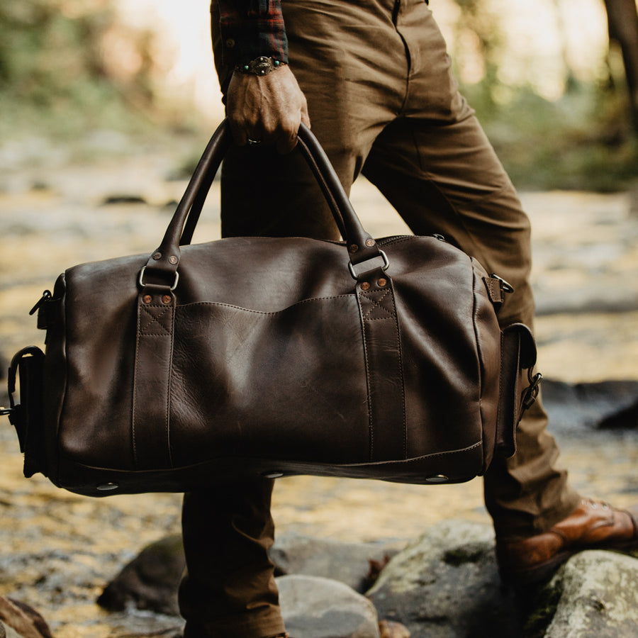 Men's Best Leather Travel Duffle Bag | Dark Briar front