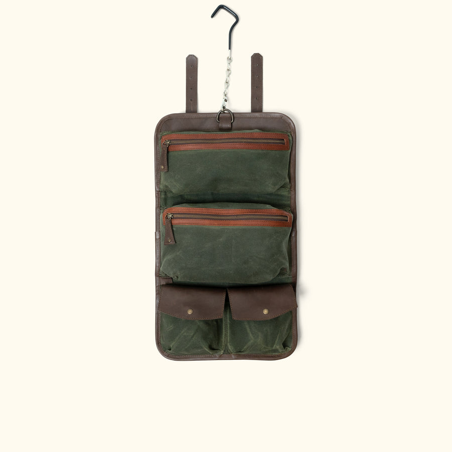 Denver Leather Toiletry Bag | Autumn Brown & Dark Briar w/ Green Waxed Canvas