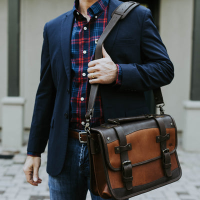 Denver Leather Belted Briefcase | Autumn Brown & Dark Briar hover