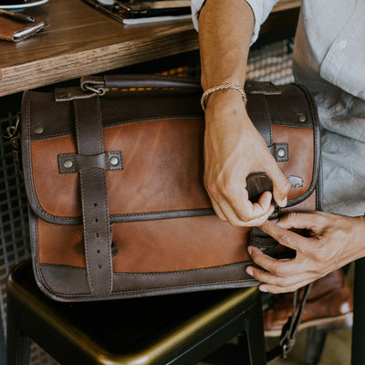 Modern Leather Briefcase Brown