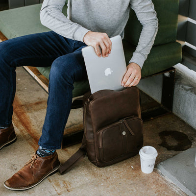 Denver Leather Backpack | Dark Briar hover