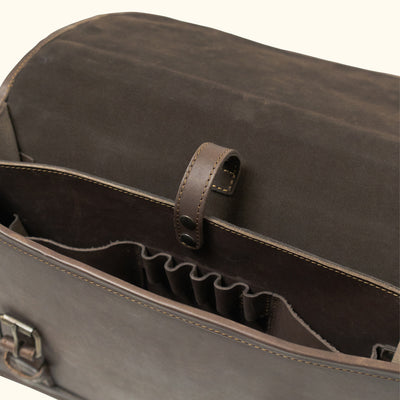 Well made Leather Briefcase | Dark Briar  interior