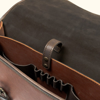 Rugged Leather Briefcase brown interior