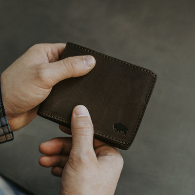 Handmade Bifold Wallet, Handcrafted, Rugged, Leather from Full Grain Tanneries for credit cards and more