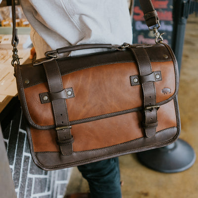 Rugged Leather Briefcase brown